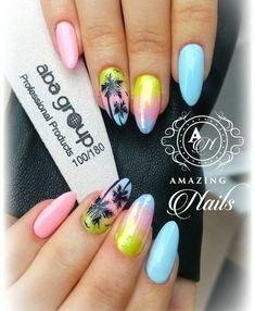 Yellow Blue Nails 49
