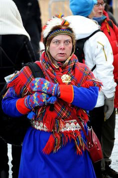 A Saami woman in a national costume, Tromsø / Norway