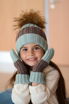 Childrens knit hat with fur pompom in mint and grey by ShopLaLune