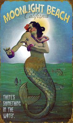 Mermaid In The Moonlight Mar Ninfa Ocean Beach Cartel Vintage * Canvas * Art Print Mermaid Sign, Mermaid Tale, Mermaid Canvas, Mermaid Poster, Real Mermaids, Mermaids And Mermen, Fantasy Mermaids, Vintage Beach Signs, Vintage Mermaid
