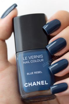 """Chanel Le Vernis """"Blue Rebel"""" - I'm not a big blue polish fan but I love this! Love Nails, How To Do Nails, Pretty Nails, Fun Nails, Chanel Nail Polish, Chanel Nails, Color Type, Colour, Acryl Nails"""