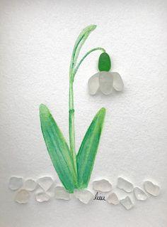 Sea Glass Artwork Flower Original Watercolour Painting