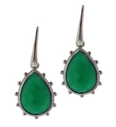 Sterling Silver and Tear Drop Green Onyx Earrings 13SS-02860