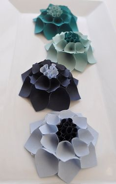 The Katie Set - Paper dahlia flower gift topper/table decor/place card setting in blue hues. $12.00, via Etsy.