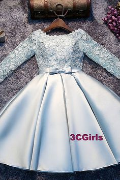 icu ~ Pin on ❤ Fashion Short Dresses ❤ ~ May 2020 - Light Blue Satin And Lace Long Sleeves Party Dress, Cute Short Graduat – classygown. African Dresses For Kids, Latest African Fashion Dresses, Girls Party Dress, Party Dresses For Women, Little Dresses, Little Girl Dresses, Ball Dresses, Ball Gowns, Short Dresses