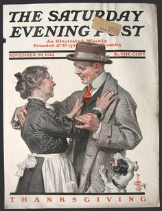 Original cover of The Saturday Evening Post dated November 28, 1914. J.C. Leyendecker's art depicts a young man coming home for Thanksgiving. He is greeted by an Mom who presumably has been cooking (she's wearing an apron) and his dog.