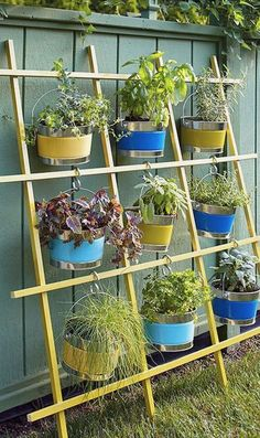 Great idea for a D.I.Y. hanging vertical container garden | Vertical gardening and plant wall ideas | Small-space backyard landscaping