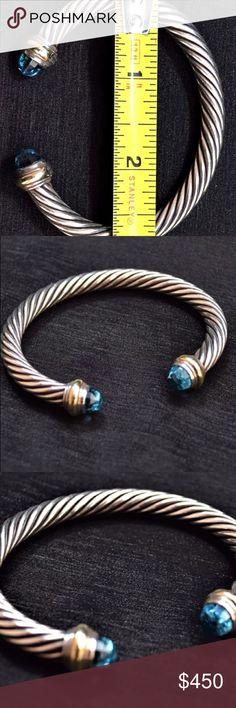 DAVID YURMAN 7mm CABLE  BRACELET 14K & Blue Topaz DAVID YURMAN CLASSIC CABLE  BRACELET  STERLING SILVER W/14KT GOLD & HAMPTON BLUE TOPAZ  Hallmarked D.Yurman 925 585 (see photo) Sterling Silver 925; 14 kt gold David Yurman Jewelry Bracelets