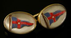 Nautical cufflinks flying the burgee of the New York Yacht Club.  Founded in 1844,  the New York Yacht Club listed among its members such Gilded Age luminaries as J. Pierpont Morgan and Cornelius Vanderbilt.  These elegant cufflinks were created by Carrington & Company in 14kt gold around 1900.