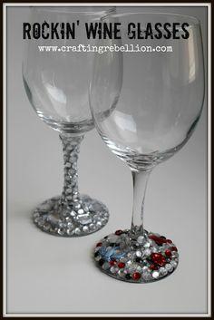 Bling some wine glasses tutorial
