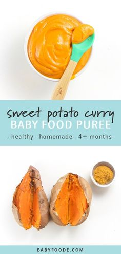 This Homemade Sweet Potato with Curry Baby Food Puree is a fun and exotic first puree for baby! Creamy, smooth and filled with a ton of essential nutrients for growing baby. Great baby food for 4+ months (stage 1 baby food). #babyfood #babypuree #homemade #healthy #baby