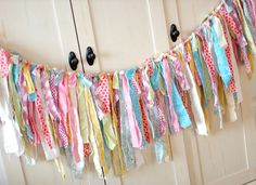 Rag Garland on Etsy - Too Shabby Easter Torn Fabric (Banner Bunting, Nursery Decor, Photo Prop)