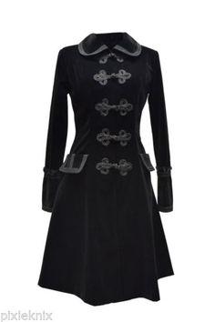 Pentagramme-Black-Velvet-Three-Quarter-Length-Gothic-Coat-Jacket-M070060