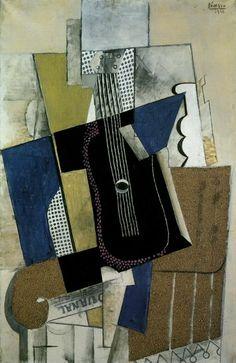 Pablo Picasso, Guitar and Newspaper Guitare et journal 1915 on ArtStack Pablo Picasso Drawings, Art Picasso, Picasso Paintings, Oil Paintings, Cubist Movement, Cubism Art, Guernica, Vintage Artwork, Henri Matisse
