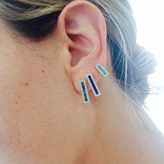 Jennifer Meyer Jewelry.  Opal and lapis studs.