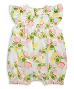 Look what I found on #zulily! Pink & Green Smocked Fruit Angel-Sleeve Romper by Rosie Pope Baby #zulilyfinds