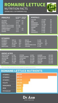 Facts about Romaine Lettuce Nutrition #Infographics