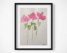 ORIGINAL AQUARELL Aquarellmalerei Bild Unikat Wiesenblumen Blumen / 9,5 Zoll x 12,6 Zoll ( 24 x 32 cm ) - Artikel bearbeiten - Etsy