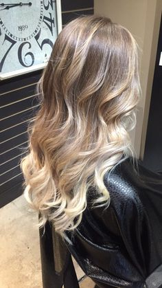 Blonde balayage highlights ombré stunning long hair