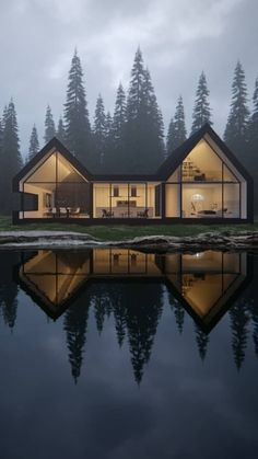 Designing The Lake House of Your Dreams - House Topics Residential Architecture, Modern Architecture, Building Design, Building A House, Modern Barn House, Casas The Sims 4, Villa, Forest House, Dream House Exterior