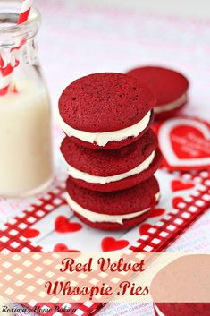 Red velvet whoopie pies with cream cheese frosting from Roxanashomebaking.com Soft, cake-like cookies sandwiched with a smooth sweet cream c...