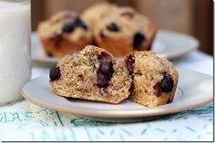 Blueberry Banana Whole Wheat Muffins.