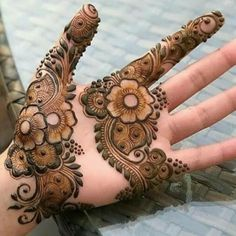 Best Beautiful Flower Easy Henna Design Only Palm for Girl with Charming Design 12-03-2018