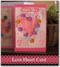 Mother's day card - a pretty button craft to make with young children. 's MONO Aqua Liquid Glue would work great on the buttons! Crafts To Make, Fun Crafts, Crafts For Kids, Arts And Crafts, Diy Y Manualidades, Mothers Day Crafts, Heart Cards, Button Crafts, Sewing A Button