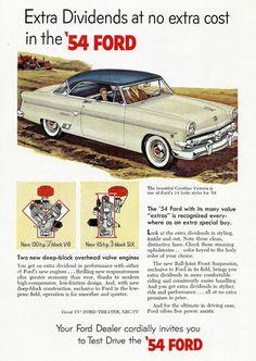 Vintage 1954 Ford Car Ad  Crestline Victoria by zippitydoodlepaper,