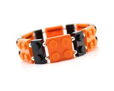 Geek Bracelet in Orange and Black  made from New LEGO by MoLGifts