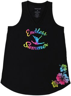 "Hustle to the beach or pool after gymnastics practice in this cute tank top. The black tank top is decorated with printed vinyl in a neon rainbow requesting an ""Endless Summer"" with a gymnast and flowers to complete the look. Best Tank Tops, Cute Tank Tops, Black Tank Tops, Gymnastics Clothes, Neon Rainbow, Tank Man, Summer, Cotton, Mens Tops"