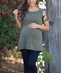 This PinkBlush Olive & Gold Sequin Maternity Scoop Neck Tee is perfect! #zulilyfinds