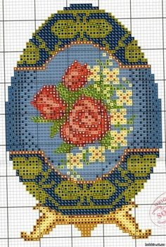 Fabergé Egg #3 • Chart for Roses on a Blue Background