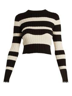 Proenza Schouler Striped Wool, Silk And Cashmere-blend Sweater In Black Stripe Crop Shirt, Sweater Shirt, Ribbed Sweater, Cropped Sweater, Chica Punk, Striped Crop Top, Stripe Top, Striped Shirts, Graphic Sweaters
