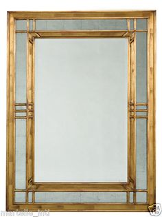 Wall Mirror Art Deco Style Gold Leafed by Hand Solid Walnut New Free Shipping | eBay