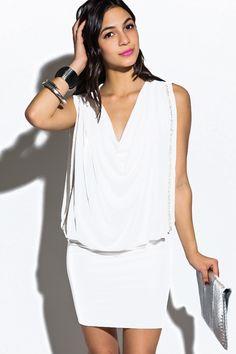 Plus Size White Party Dresses | PLUS SIZE bright white bejeweled drape cocktail party mini dress $20 ...
