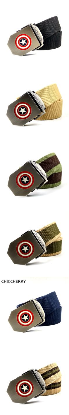 New Fashion Thicken Men's Belt Canvas Outdoor Casual Male Belts with Captain America Shield Metal Buckles Cinto Masculino Lona