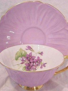 Shelley Oleander Violet tea cups