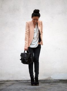 Salmon blazer with loose shirt and black wedges.