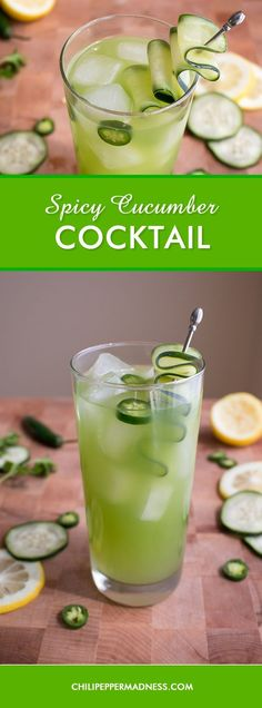 Spicy Cucumber Cocktail - A refreshing cocktail recipe featuring the flavors of crisp cucumber, fragrant cilantro, tart lemon and fiery serrano pepper, made a little sweet with sugar and rallied with cilantro vodka. Cocktail time, my friends! #vodkacocktails #cocktailrecipes