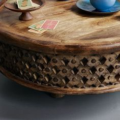 Carved Wood Coffee Table - Making it Lovely Mango Wood Coffee Table, Round Coffee Table, Small Wood Coffee Table, Tree Stump Side Table, Decorating Coffee Tables, Wood Table, Scandinavian Style, Wood Furniture, Outdoor Furniture