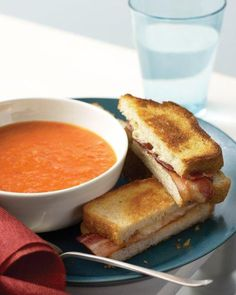 Tomato Soup with Cheese and Bacon Toasties Recipe