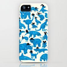 Blue Animals Black Hats iPhone Case by WanderingBert / David Creighton-Pester - $35.00