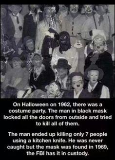 scary Black and White creepy horror b&w Halloween murder mask costume scary story FBI terror horror story