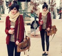 Cardi, scarf, and leopard