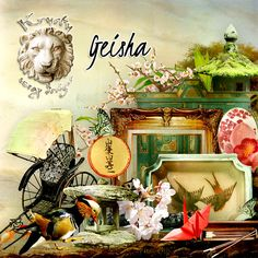 """Geisha kit has some very nice flora and other traditional Japanese elements, many related to the geisha """"entertainer"""" and hostesses"""