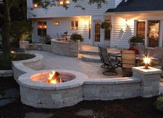 I love this outdoor fireplace.