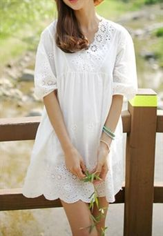 white lace empire vintage style dress long top blouse from zamong-boutique