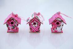 Miniature pink DIY birdhouse set (3 birdhouses) - Embellished with pink floral and polka dot fabric. Cute & tiny for shabby chic home, nursery, bedroom / to hang with string / Hanging decoration (shabby chic / cottage chic) - via ETSY - $12.99