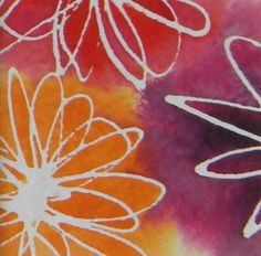 This tiny little watercolor of three blossoms is made using a batik technique. First draw the flowers with masking fluid (a kind of runny rubber cement) on watercolor paper. Then, when that's dry, put down a background color in watercolor. While that's wet, add other colors and allow the paint to bleed, forming interesting patterns and colors. After it's all dry, peel off the masking fluid, exposing the white of the paper.